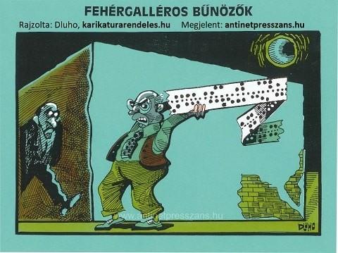 Humoros vicces karikatúra Dluhopolszky László alkotása