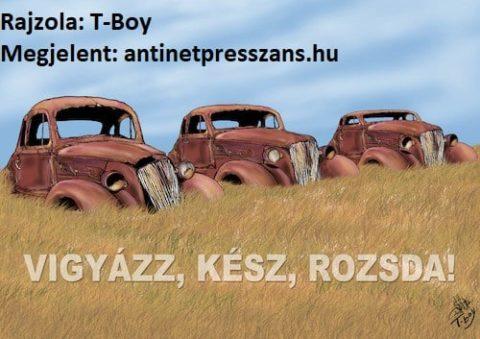 Roncstelep karikatúra Rajzolta: T-Boy, Gaál Tibor