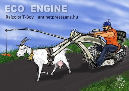 Eco motor Zöld rendszám humor karikatúra Rajzolta: T-Boy (Gaál Tibor)