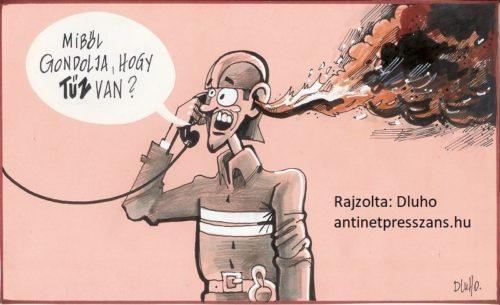Tűzoltó humoros karikatúra Rajzolta: Dluho (Dluhopolszky László)