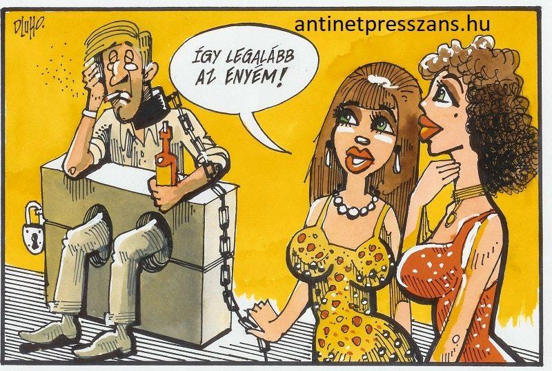 Humoros párkapcsolat karikatúra Rajzolta: Dluhopolszky László