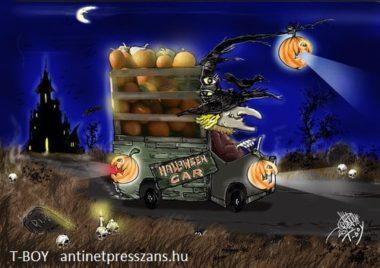 Vicces Halloween karikatúra Rajzolta: T-Boy (Gaál Tibor)