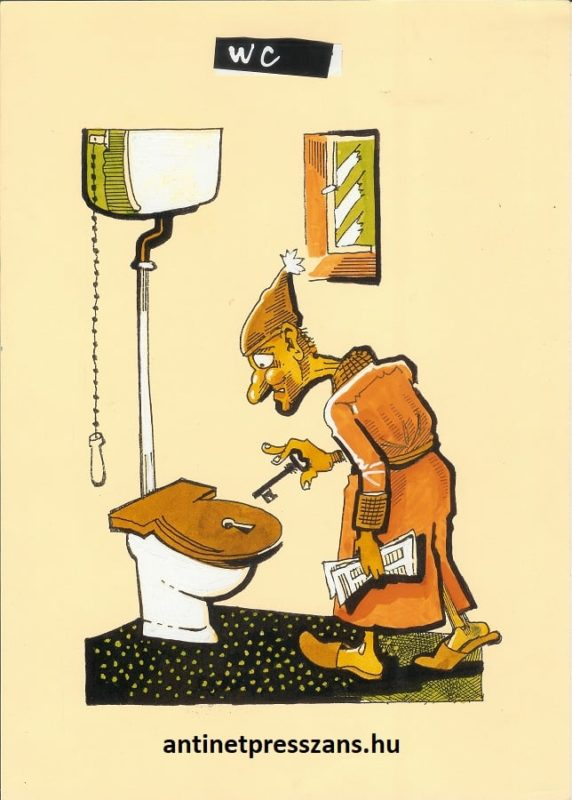 Humoros toalett karikatúra