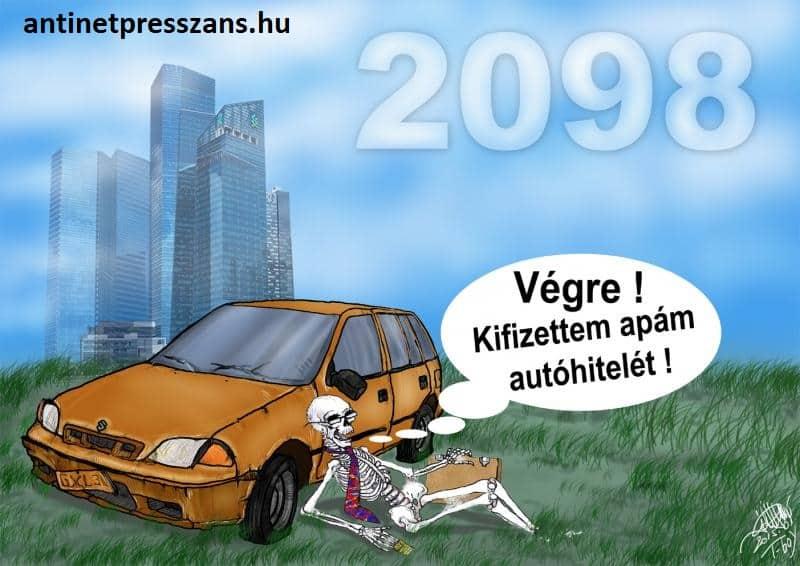 Vicces autóhitel karikatúra
