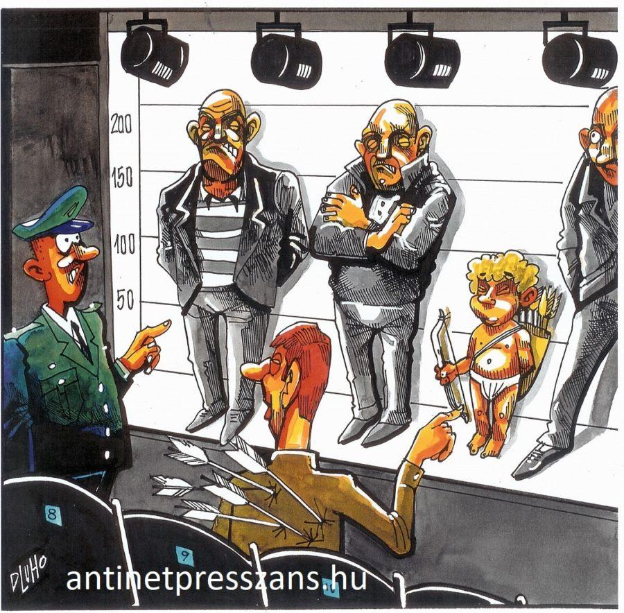 Vicces szembesítés karikatúra