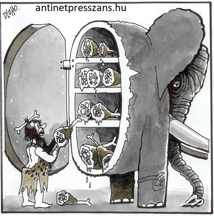 Vicces hűtő karikatúra