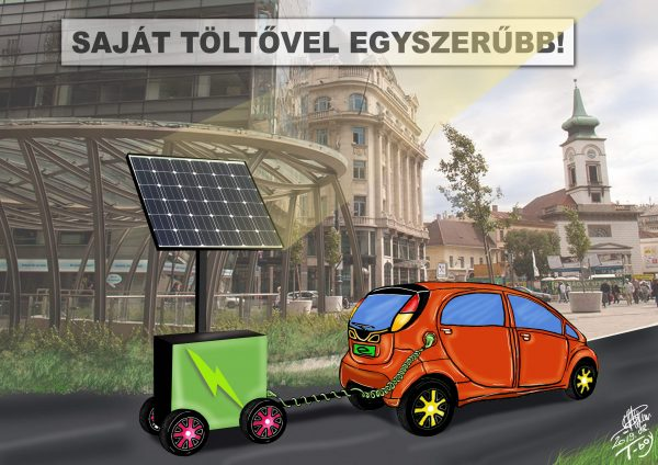Humoros elektromos autó karikatúra.