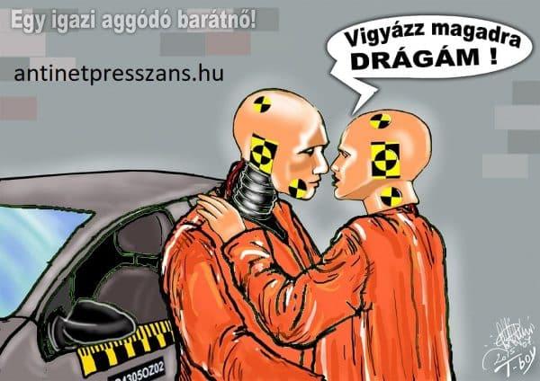 Humoros sofőr karikatúra