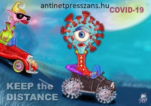 Koronavírus karikatúra humor