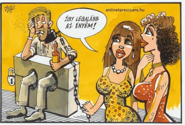Vicces szerelmi karikatúra