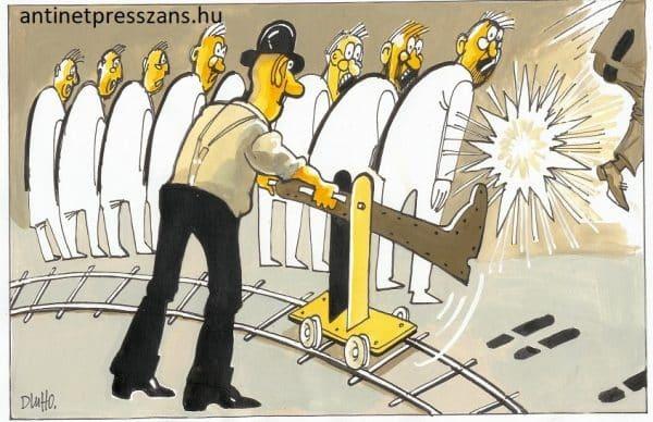 Humoros csapatmunka karikatúra