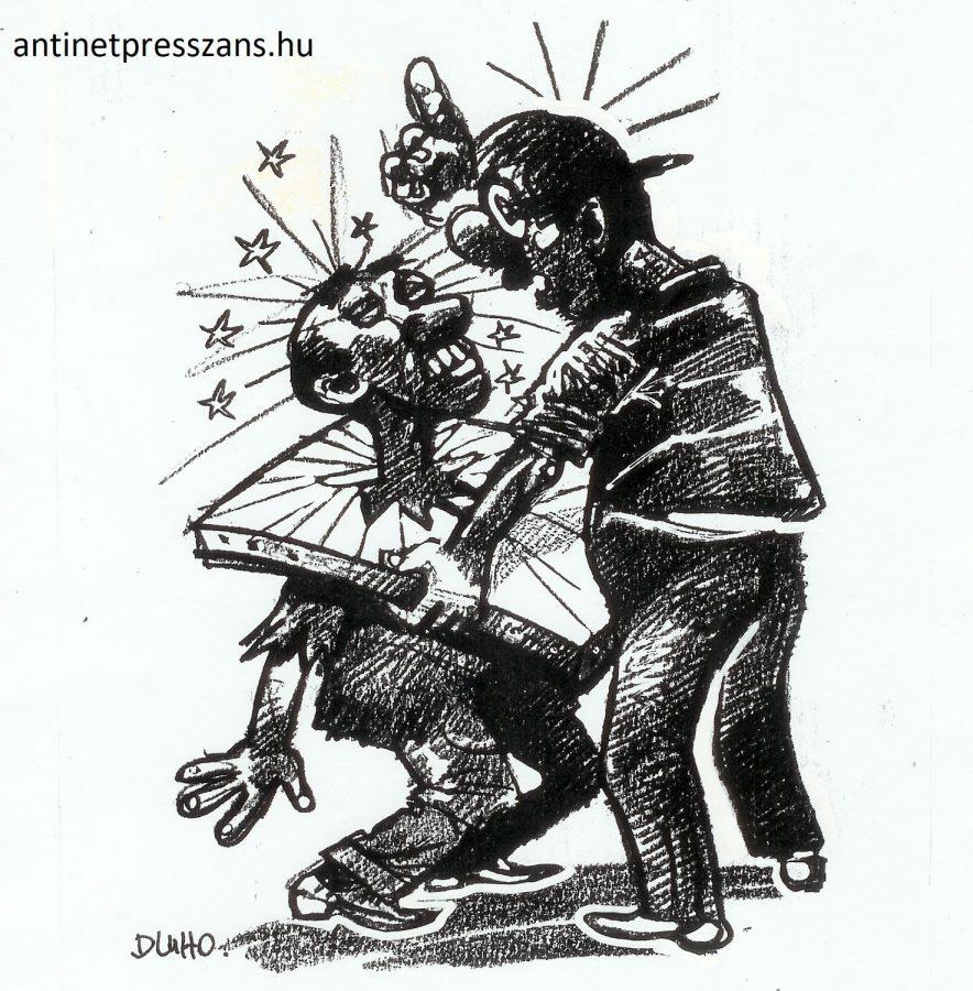 Dühös karikaturista humor