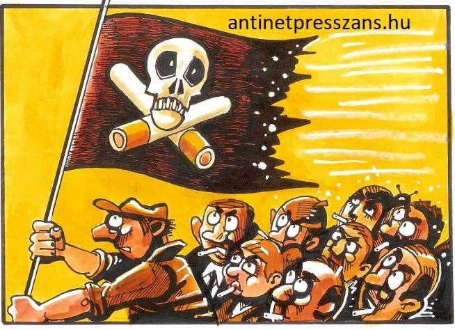 Vicces dohányzás karikatúra