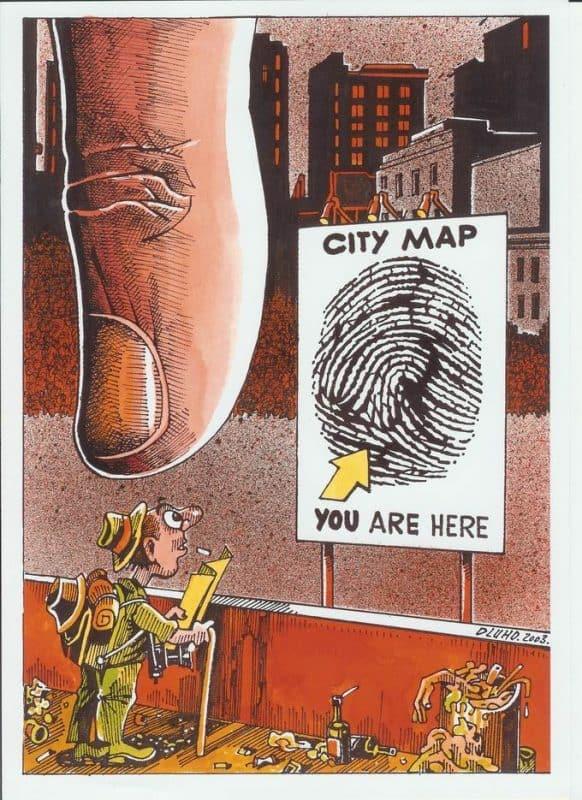 Várostérkép karikatúra