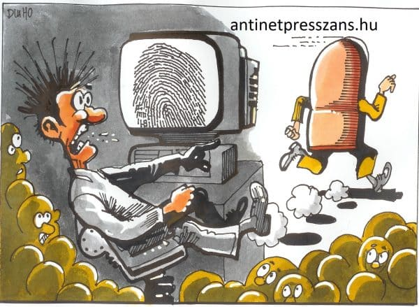 Forró nyom karikatúra